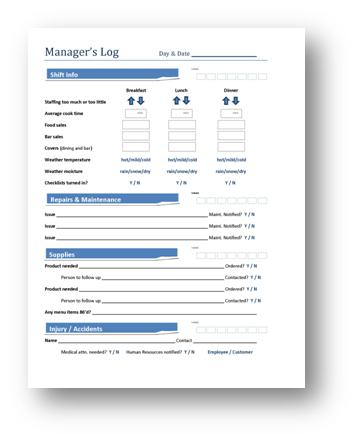 Restaurant Communication  How To Use A ManagerS Log To Get