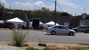 Restaurant Impossible in the parking lot of Poco's in Kansas City