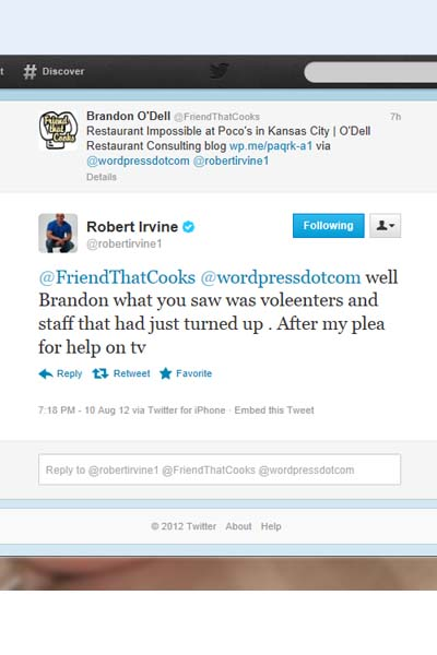 Robert Irvine tweet 1